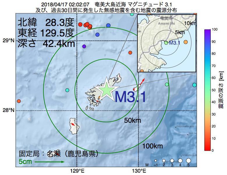 地震震源マップ:2018年04月17日 02時02分 奄美大島近海でM3.1の地震