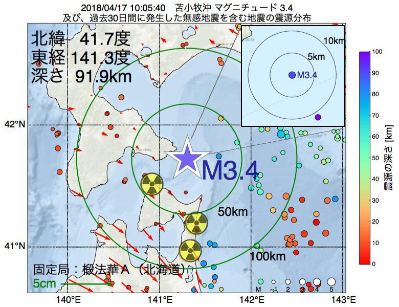 地震震源マップ:2018年04月17日 10時05分 苫小牧沖でM3.4の地震