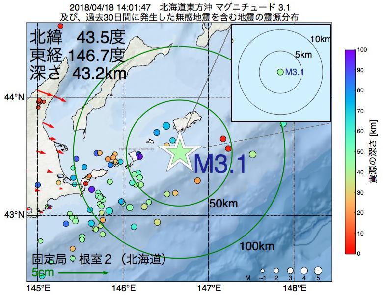 地震震源マップ:2018年04月18日 14時01分 北海道東方沖でM3.1の地震