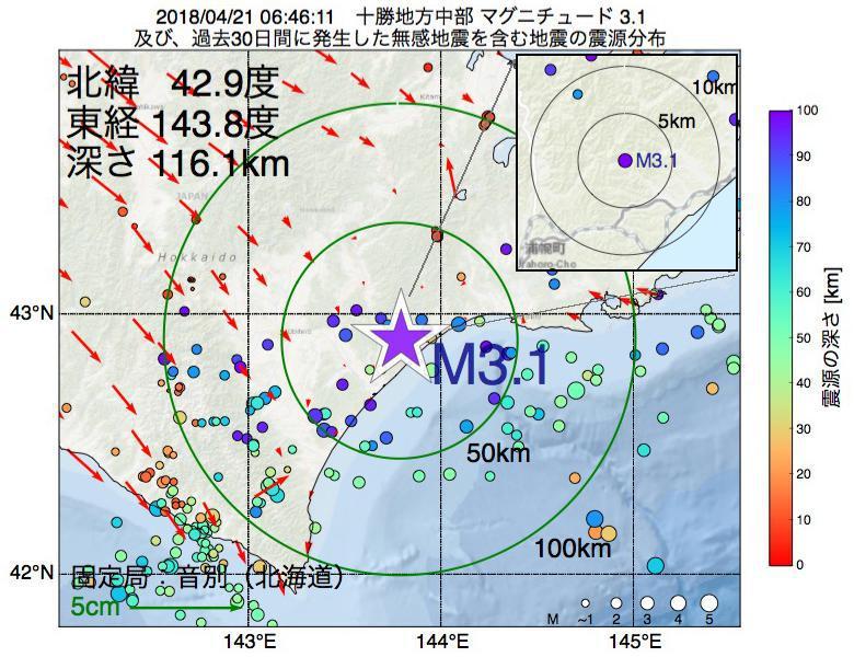 地震震源マップ:2018年04月21日 06時46分 十勝地方中部でM3.1の地震