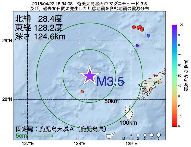 地震震源マップ:2018年04月22日 18時34分 奄美大島北西沖でM3.5の地震