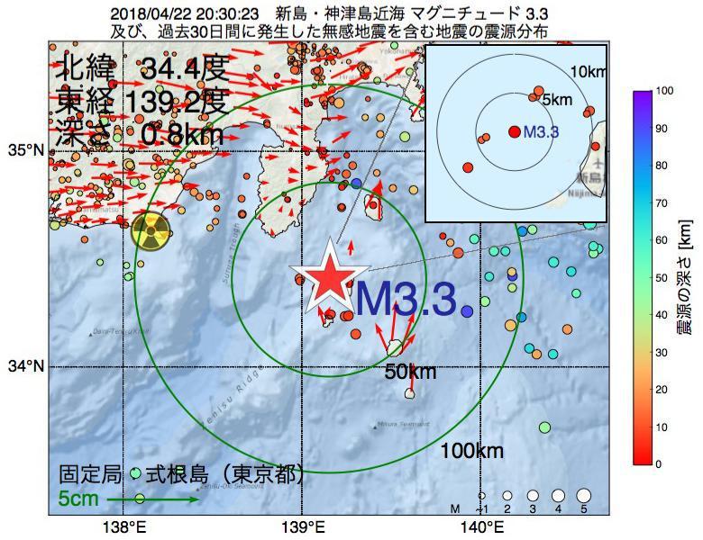 地震震源マップ:2018年04月22日 20時30分 新島・神津島近海でM3.3の地震