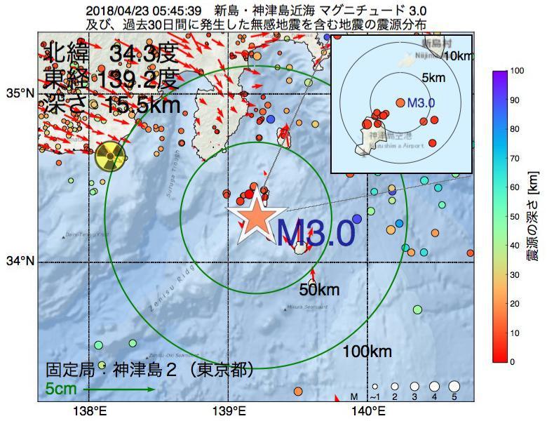 地震震源マップ:2018年04月23日 05時45分 新島・神津島近海でM3.0の地震