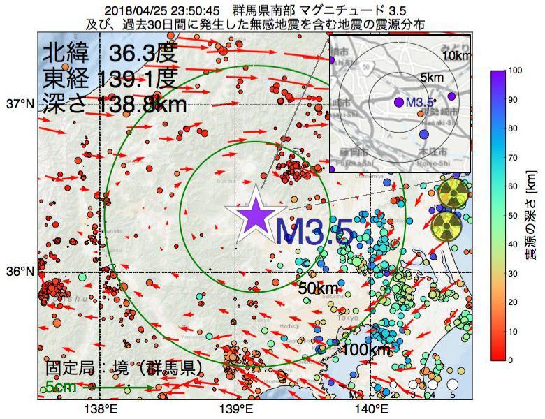 地震震源マップ:2018年04月25日 23時50分 群馬県南部でM3.5の地震