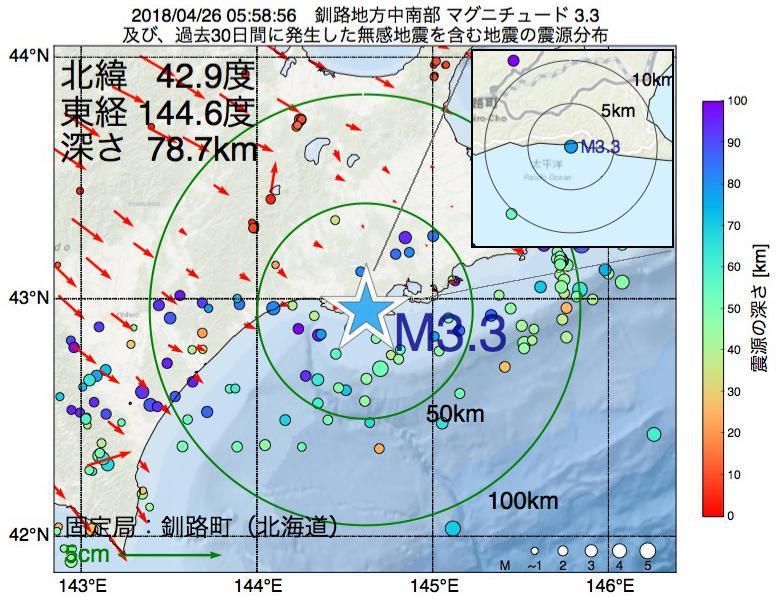 地震震源マップ:2018年04月26日 05時58分 釧路地方中南部でM3.3の地震