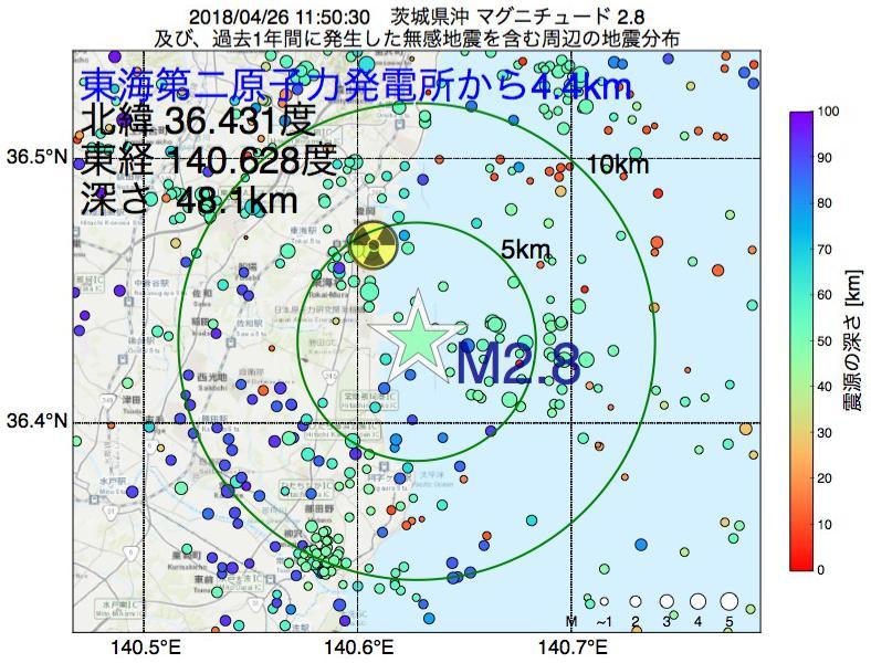 地震震源マップ:東海第二原子力発電所から4.4km地点でM2.8の地震が発生しました