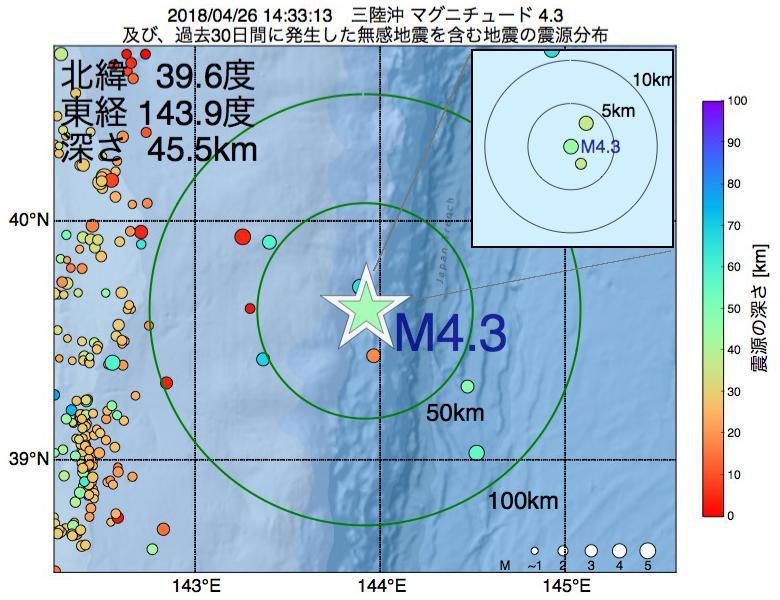 地震震源マップ:2018年04月26日 14時33分 三陸沖でM4.3の地震
