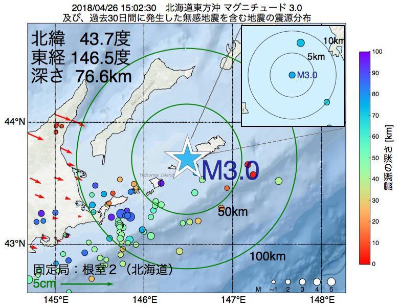 地震震源マップ:2018年04月26日 15時02分 北海道東方沖でM3.0の地震
