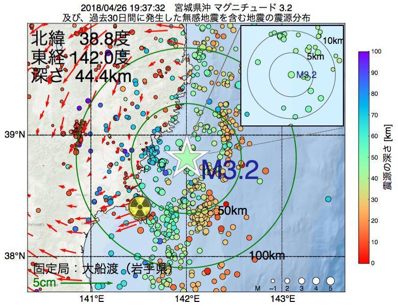 地震震源マップ:2018年04月26日 19時37分 宮城県沖でM3.2の地震