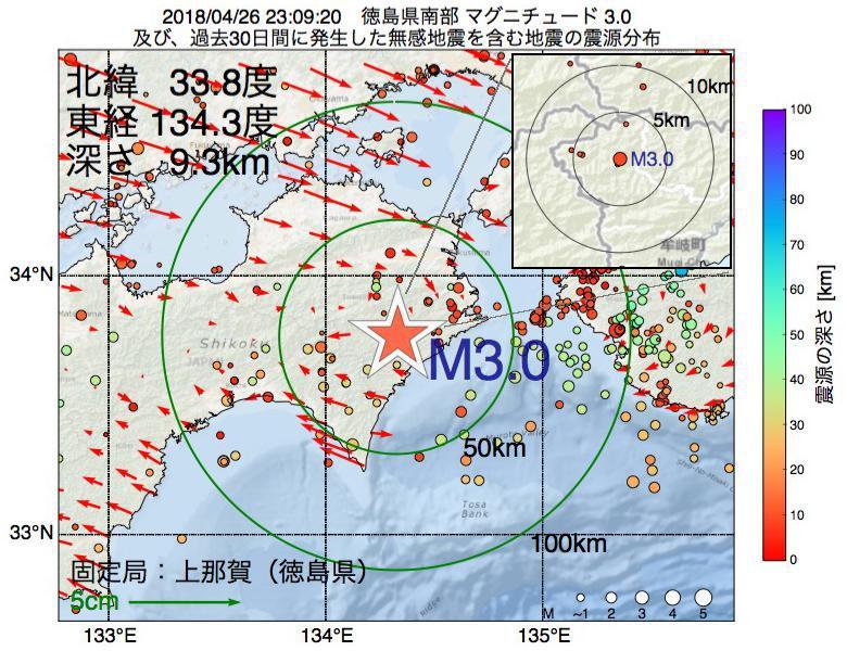 地震震源マップ:2018年04月26日 23時09分 徳島県南部でM3.0の地震