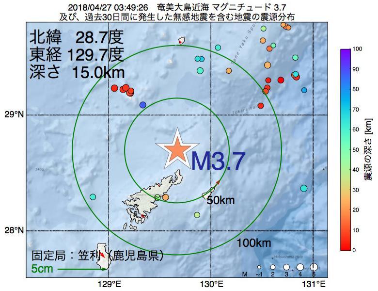 地震震源マップ:2018年04月27日 03時49分 奄美大島近海でM3.7の地震