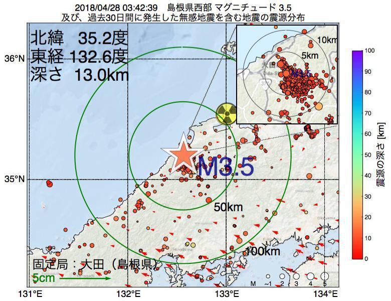 地震震源マップ:2018年04月28日 03時42分 島根県西部でM3.5の地震