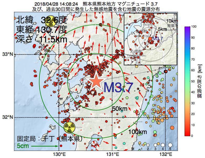地震震源マップ:2018年04月28日 14時08分 熊本県熊本地方でM3.7の地震