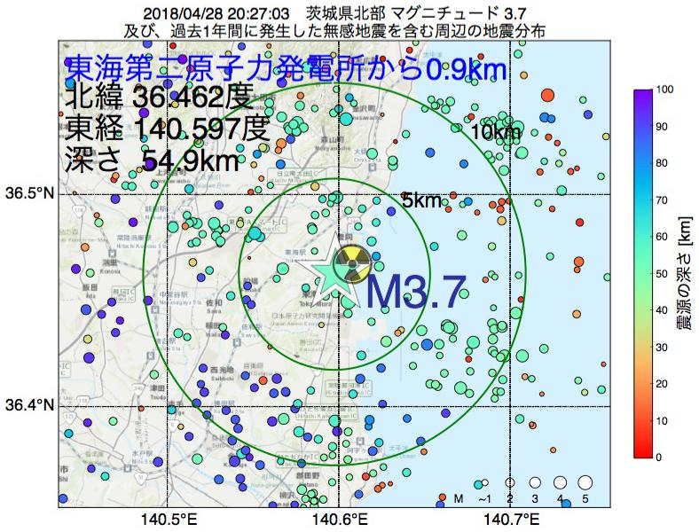 地震震源マップ:東海第二原子力発電所から0.9km地点でM3.7の地震が発生しました