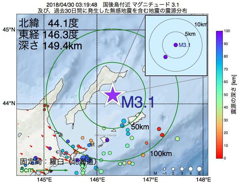 地震震源マップ:2018年04月30日 03時19分 国後島付近でM3.1の地震