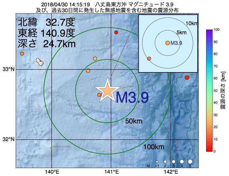 地震震源マップ:2018年04月30日 14時15分 八丈島東方沖でM3.9の地震