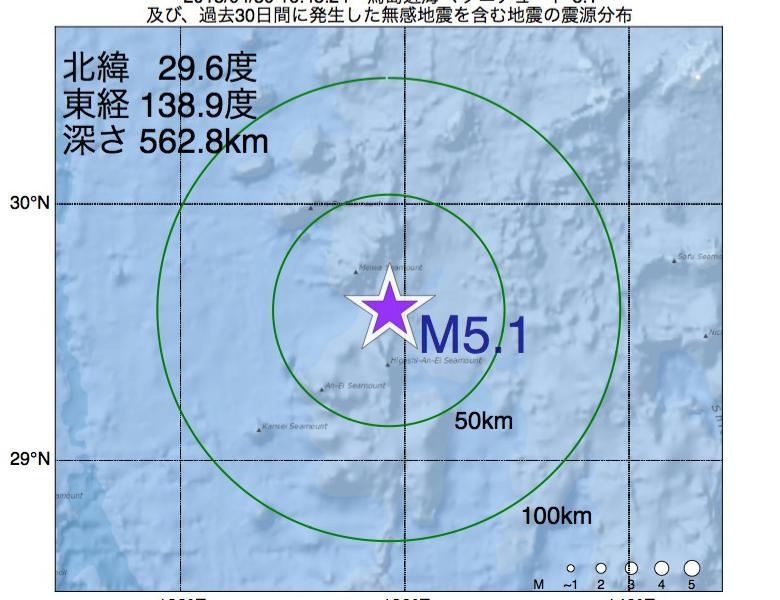 地震震源マップ:2018年04月30日 16時48分 鳥島近海でM5.1の地震