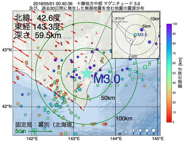 地震震源マップ:2018年05月01日 00時40分 十勝地方中部でM3.0の地震