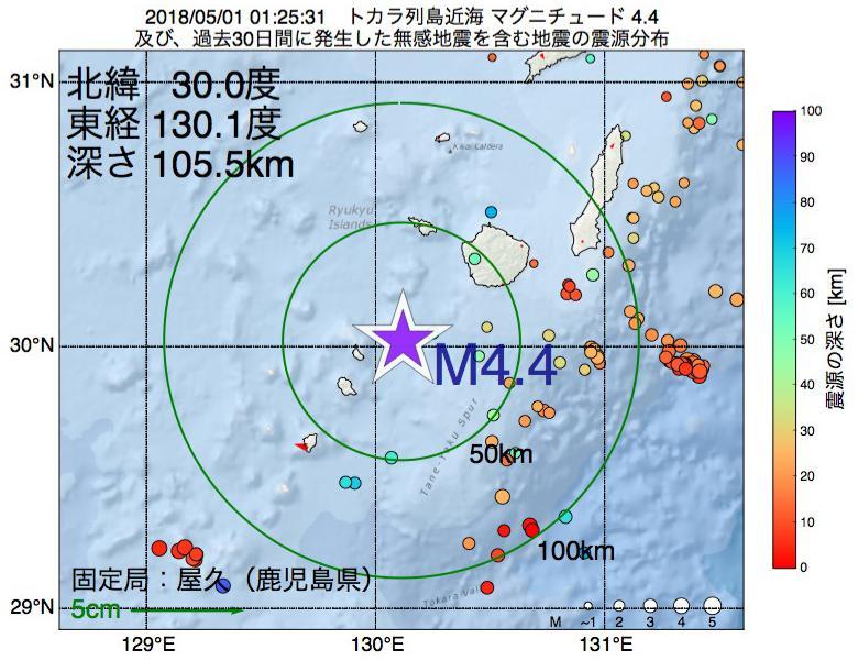 地震震源マップ:2018年05月01日 01時25分 トカラ列島近海でM4.4の地震