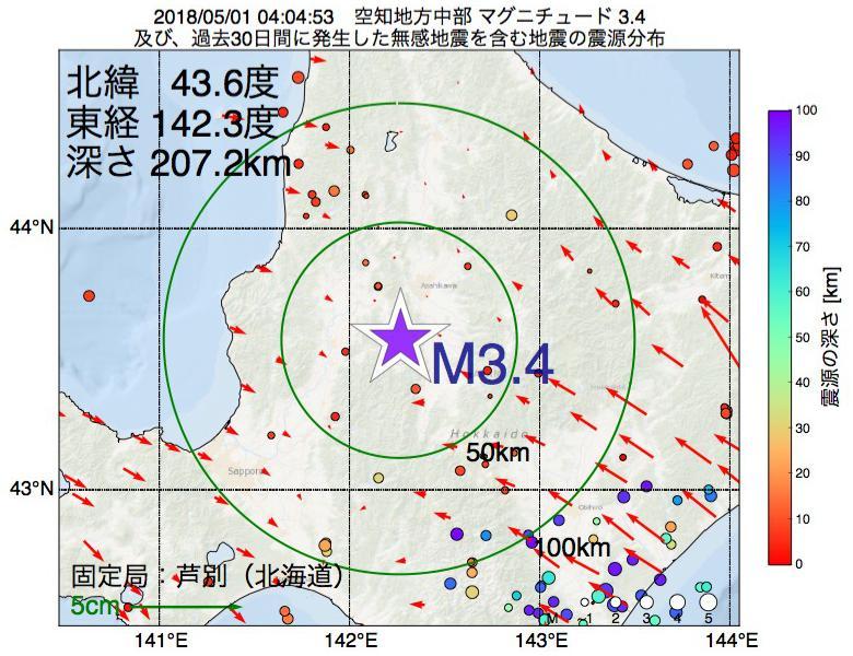 地震震源マップ:2018年05月01日 04時04分 空知地方中部でM3.4の地震