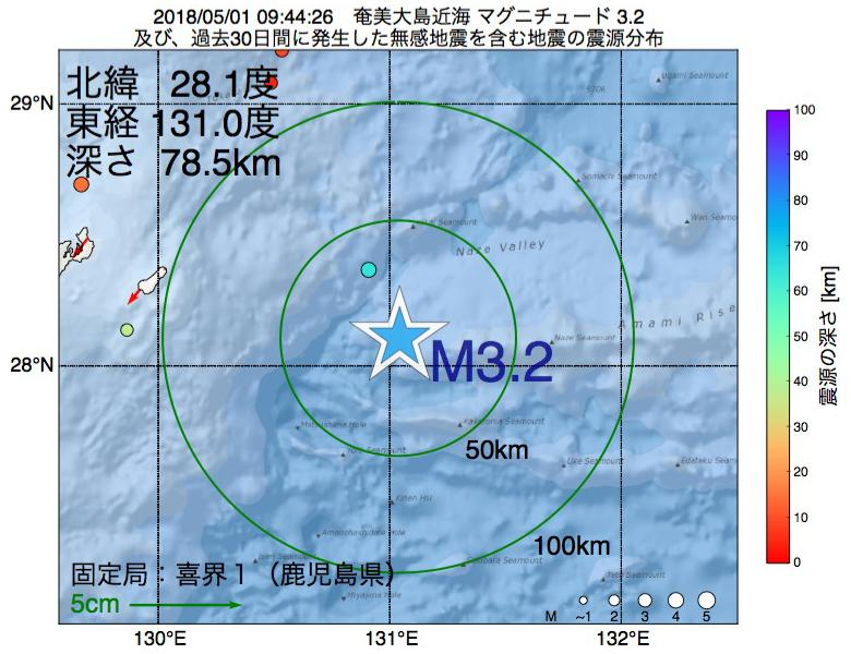 地震震源マップ:2018年05月01日 09時44分 奄美大島近海でM3.2の地震