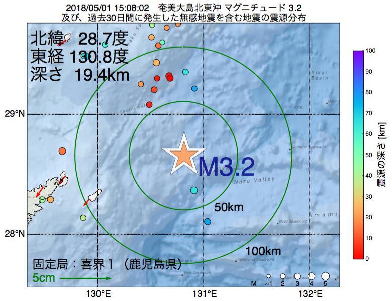 地震震源マップ:2018年05月01日 15時08分 奄美大島北東沖でM3.2の地震