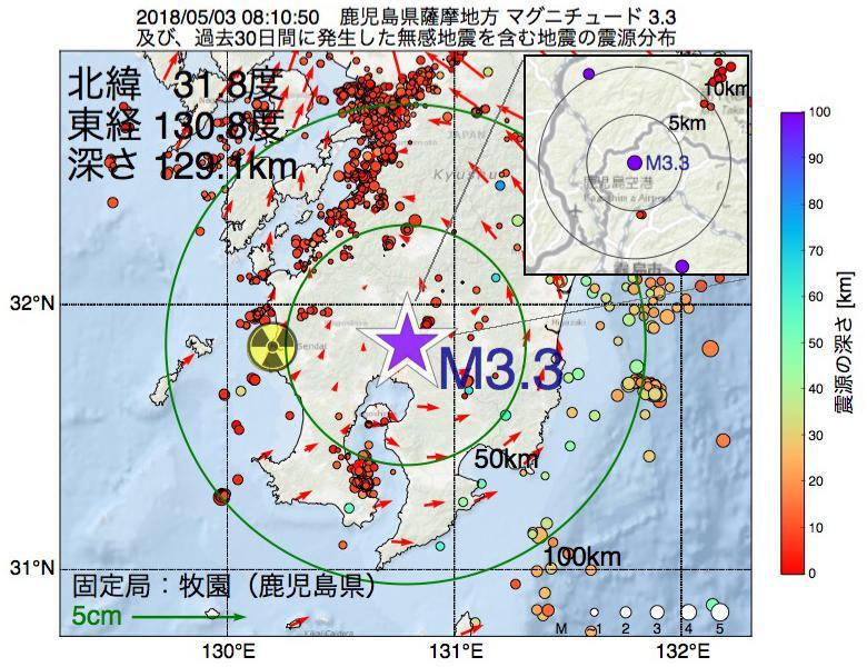 地震震源マップ:2018年05月03日 08時10分 鹿児島県薩摩地方でM3.3の地震