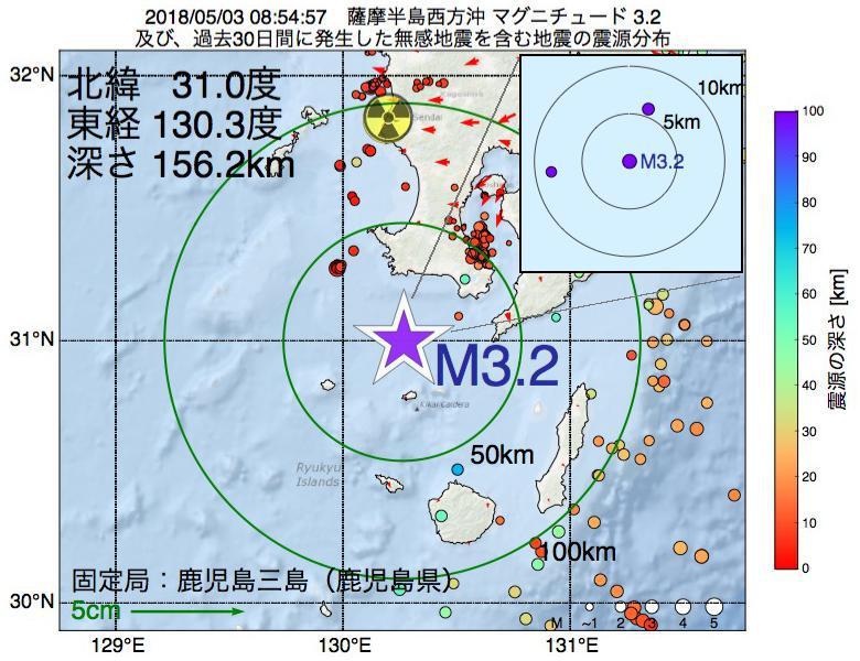 地震震源マップ:2018年05月03日 08時54分 薩摩半島西方沖でM3.2の地震