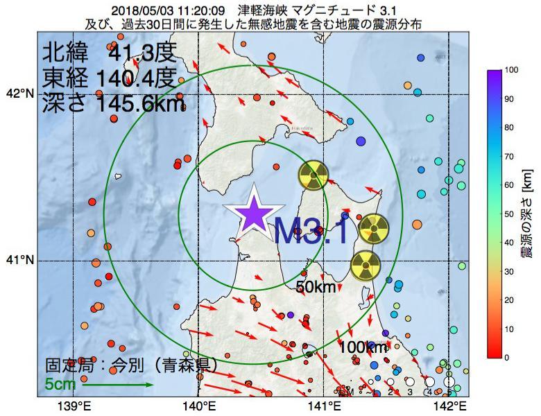 地震震源マップ:2018年05月03日 11時20分 津軽海峡でM3.1の地震