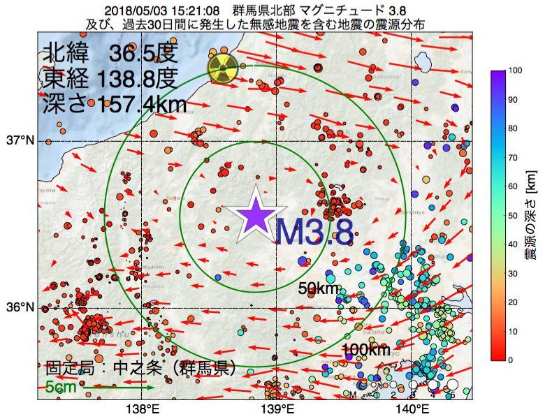 地震震源マップ:2018年05月03日 15時21分 群馬県北部でM3.8の地震