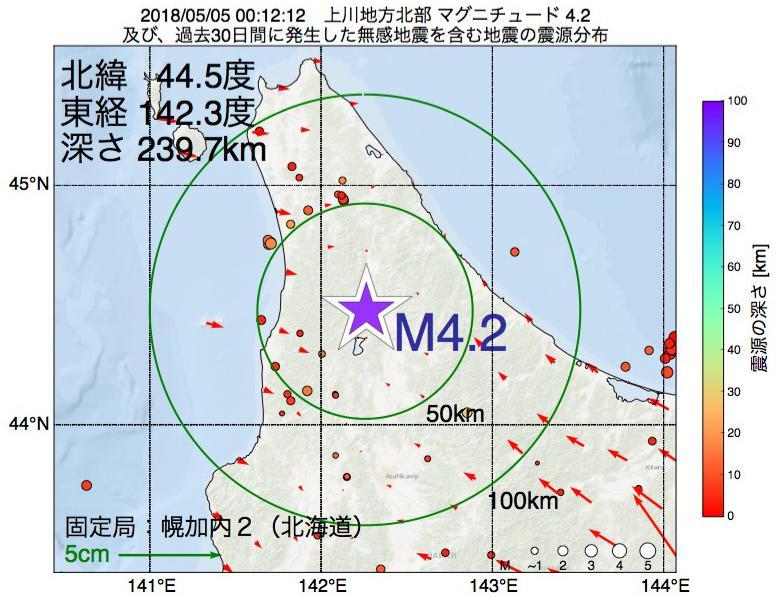 地震震源マップ:2018年05月05日 00時12分 上川地方北部でM4.2の地震