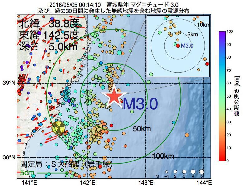 地震震源マップ:2018年05月05日 00時14分 宮城県沖でM3.0の地震