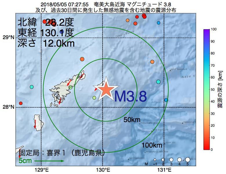 地震震源マップ:2018年05月05日 07時27分 奄美大島近海でM3.8の地震