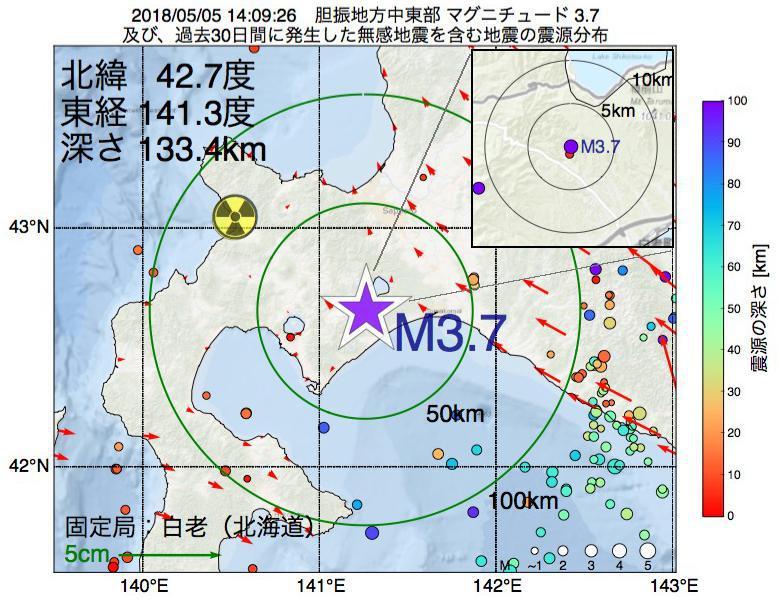 地震震源マップ:2018年05月05日 14時09分 胆振地方中東部でM3.7の地震