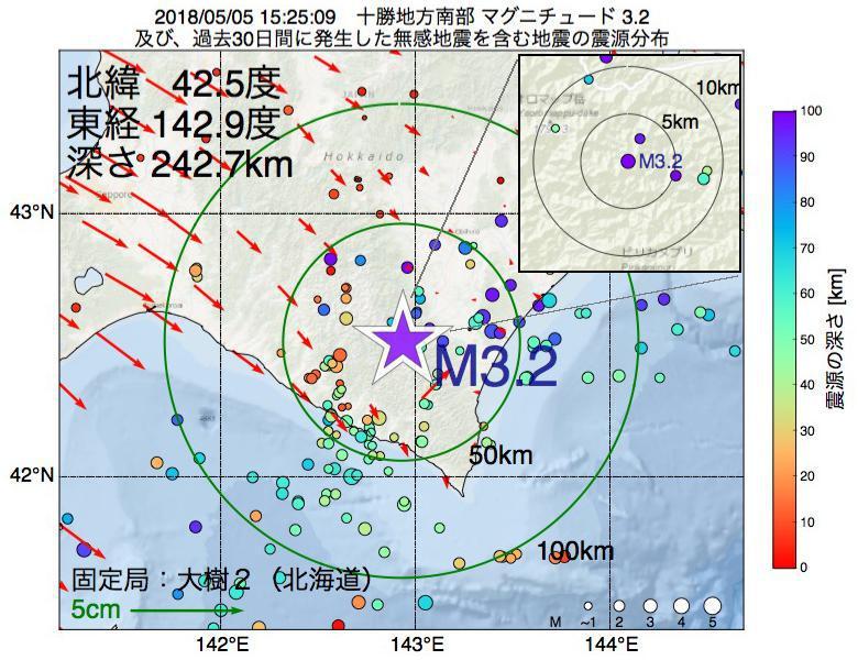 地震震源マップ:2018年05月05日 15時25分 十勝地方南部でM3.2の地震