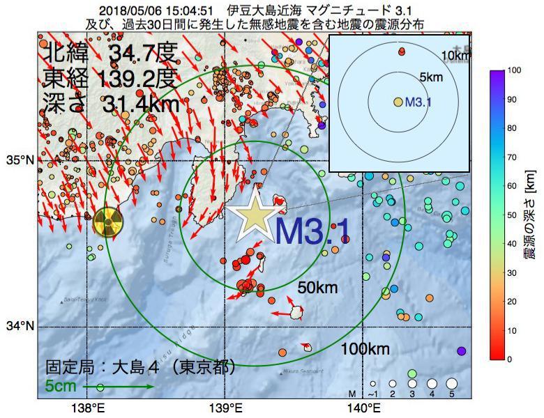 地震震源マップ:2018年05月06日 15時04分 伊豆大島近海でM3.1の地震