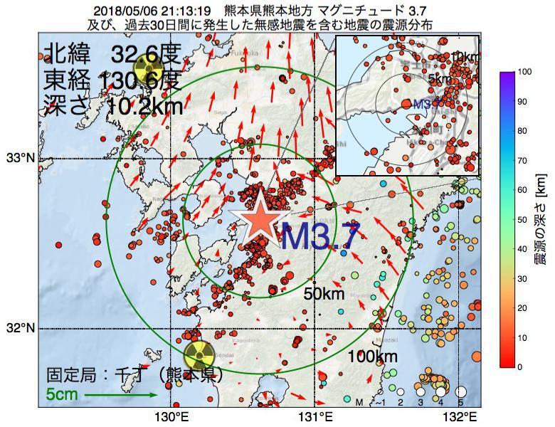 地震震源マップ:2018年05月06日 21時13分 熊本県熊本地方でM3.7の地震