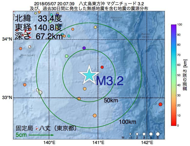 地震震源マップ:2018年05月07日 20時07分 八丈島東方沖でM3.2の地震