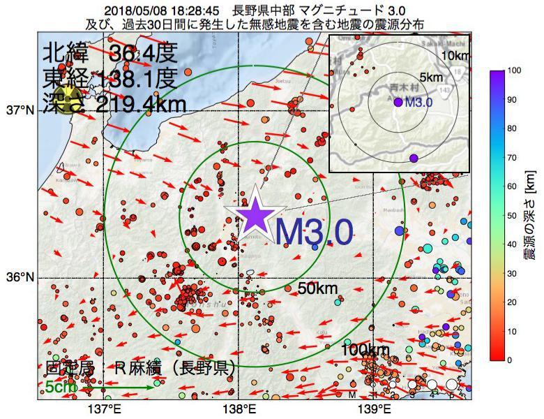 地震震源マップ:2018年05月08日 18時28分 長野県中部でM3.0の地震