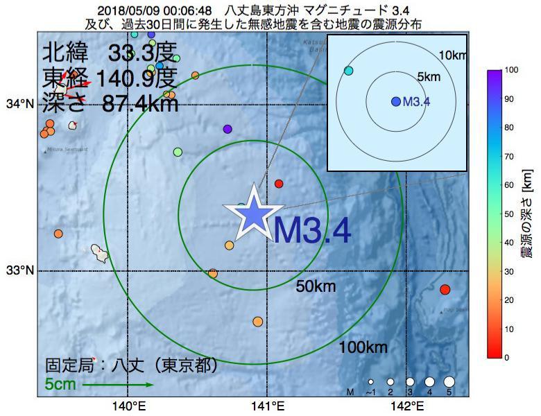 地震震源マップ:2018年05月09日 00時06分 八丈島東方沖でM3.4の地震