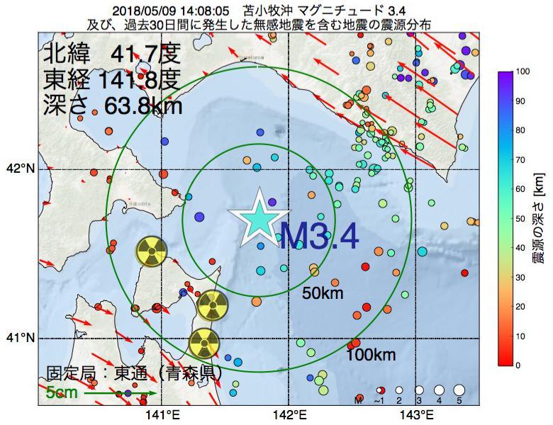 地震震源マップ:2018年05月09日 14時08分 苫小牧沖でM3.4の地震