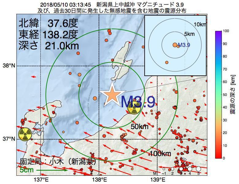 地震震源マップ:2018年05月10日 03時13分 新潟県上中越沖でM3.9の地震