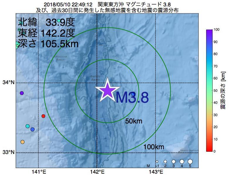 地震震源マップ:2018年05月10日 22時49分 関東東方沖でM3.8の地震