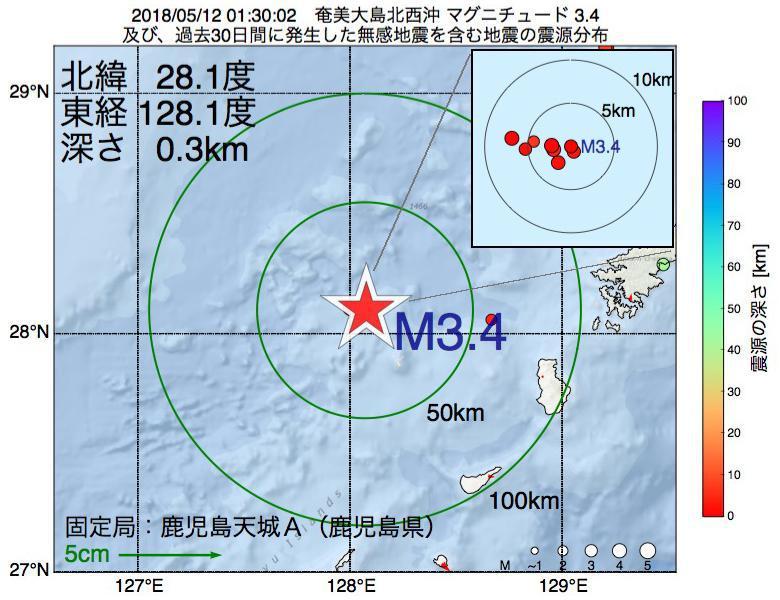 地震震源マップ:2018年05月12日 01時30分 奄美大島北西沖でM3.4の地震