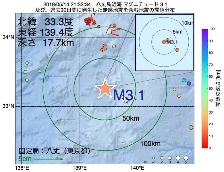 地震震源マップ:2018年05月14日 21時32分 八丈島近海でM3.1の地震