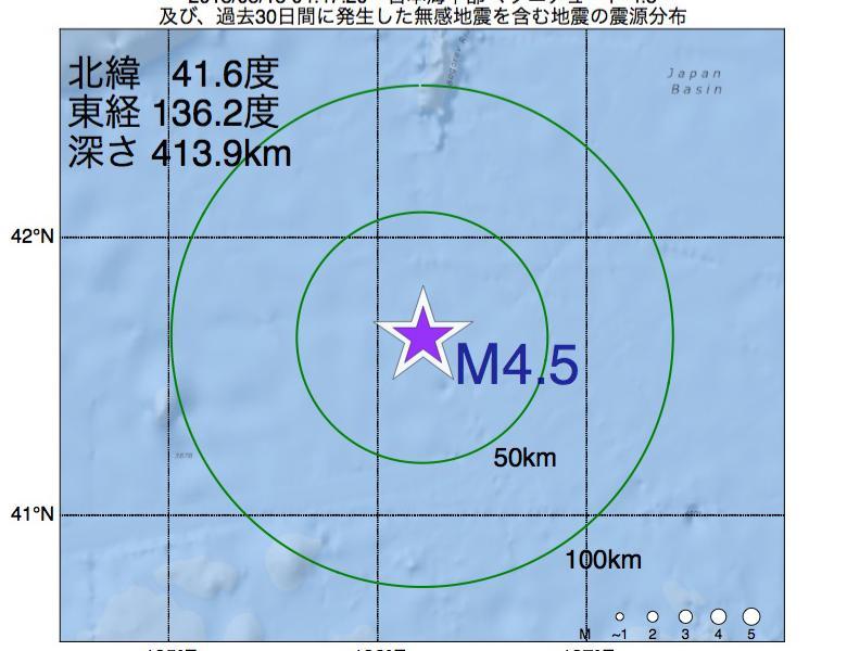 地震震源マップ:2018年05月15日 04時47分 日本海中部でM4.5の地震