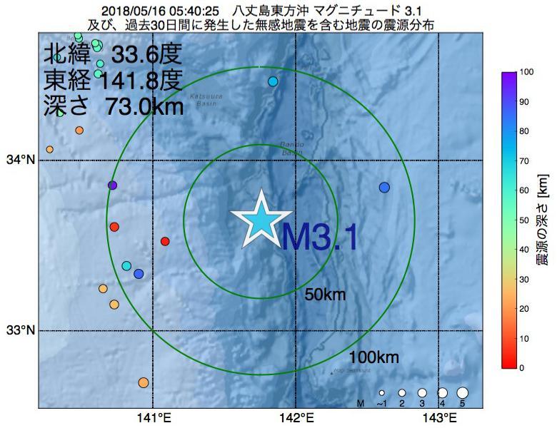地震震源マップ:2018年05月16日 05時40分 八丈島東方沖でM3.1の地震