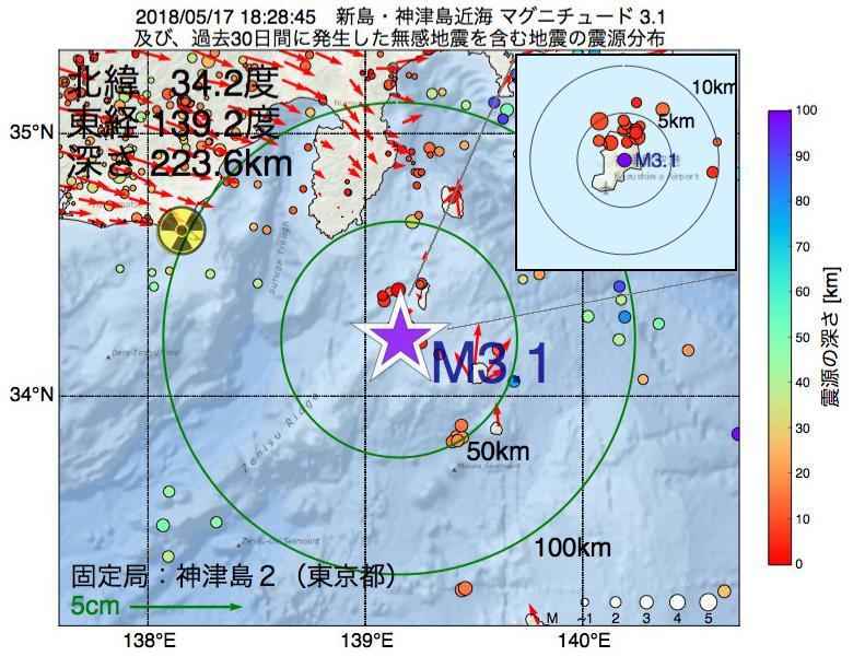 地震震源マップ:2018年05月17日 18時28分 新島・神津島近海でM3.1の地震