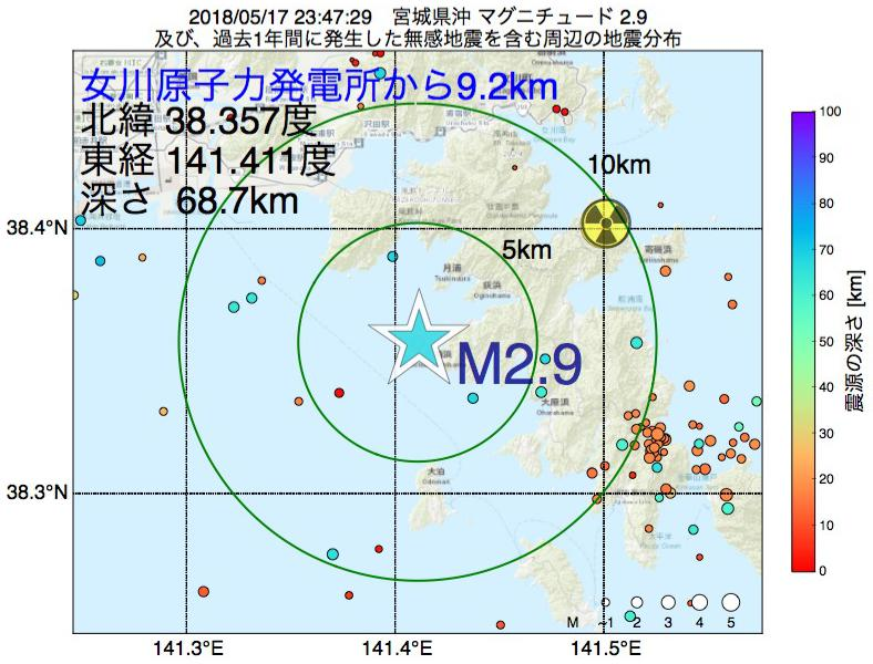 地震震源マップ:女川原子力発電所から9.2km地点でM2.9の地震が発生しました