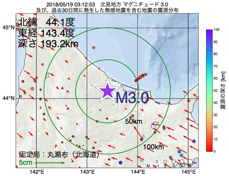 地震震源マップ:2018年05月19日 03時12分 北見地方でM3.0の地震